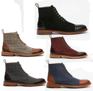 Mens High Top Lace up Chukka Leather Check Plaid Desert Boots Casual Shoes HOT