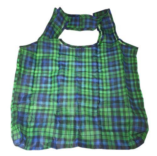 Tartan Design Ripiegare Eco shopping bag per la vita in sacchetto con allegato di clip