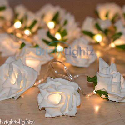 WARM WHITE BATTERY LED ROSE FLOWER STRING FAIRY LIGHTS CHAIN SILK WEDDING TABLE