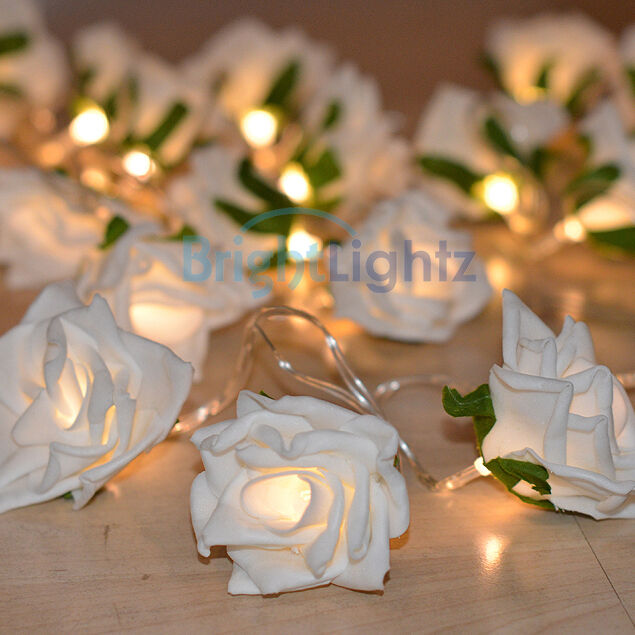 WARM WHITE BATTERY LED ROSE FLOWER STRING FAIRY LIGHTS CHAIN SILK WEDDING TABLE