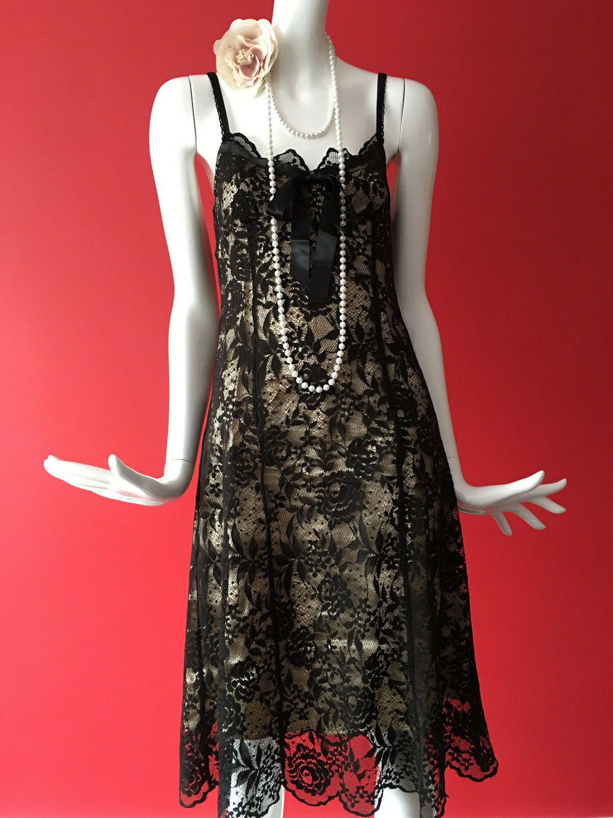 Vintage OASIS Lace Flapper Inspired Gatsby 1920s Party Dress Size 10 BNWT