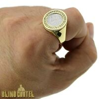 Men's Hip Hop Ring Round Sand Blast Gold Tone Iced-out Big Rapper Bling Sz 8-12