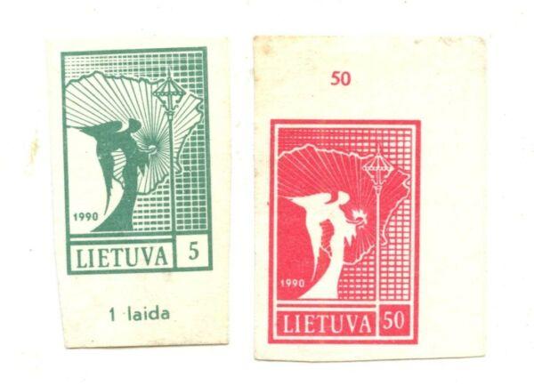 Contemplatif La Lituanie Timbres: 1st Indépendance émettre Comme Neuf 2 Du Set