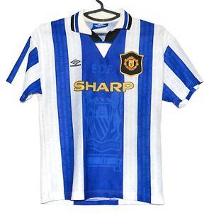 Manchester United 1994/1995/1996 TERZA FOOTBALL SHIRT JERSEY Umbro taglia L Ragazzi