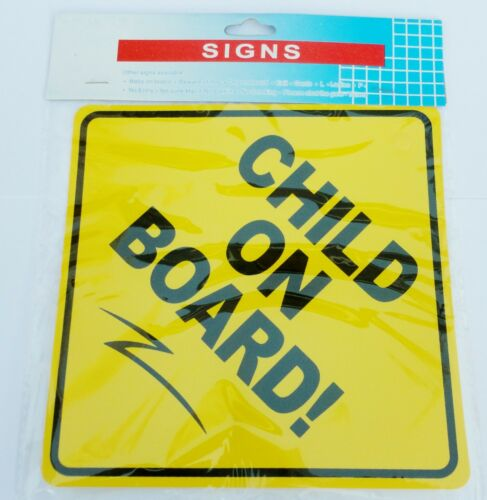 CHILD ON BOARD SIGN WITH SUCTION CUP HIGHLY VISIBLE COLOUR CONTRAST BOLD WORDING