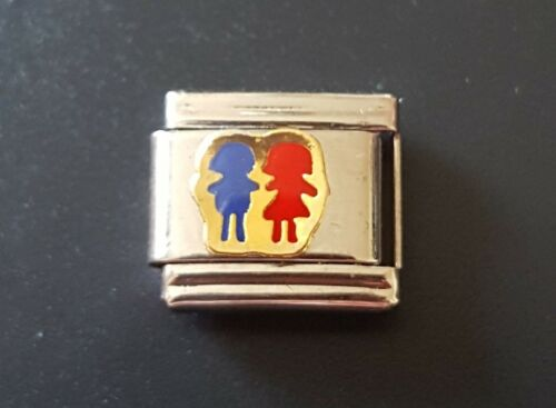 Boy /& Girl Italian Charm Bracelet Charms Link Classic Valentines Day February