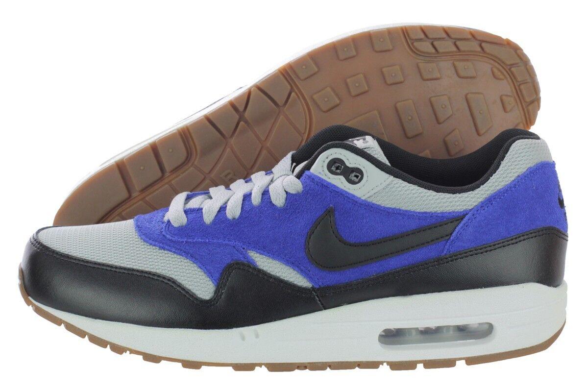 Nike Air Max 1 Essential 537383-022 Blue Black Leather Textile Shoes Medium Men Blues