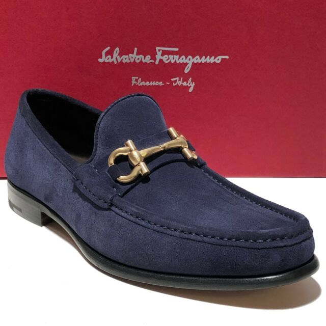 245aa073d87f7 Salvatore Ferragamo Blue 8.5d Suede Mason Gold Gancini Loafers Shoes ...