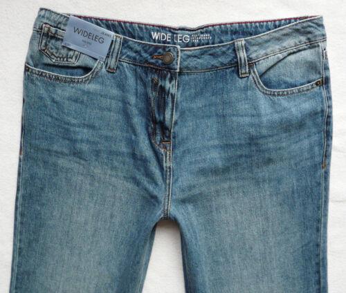 BNWT NEXT  mid blue wide relaxed leg jeans 100/% cotton lightweight 10//12//14 R P