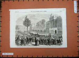 Original-Old-Antique-Print-King-Leop1862-Brussels-Palace-24Th-Ult-Street-Scene