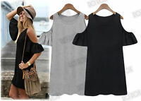New Cut Out Off Shoulder Cold Bardot Festival Vintage Style Tunic Long Boho Top