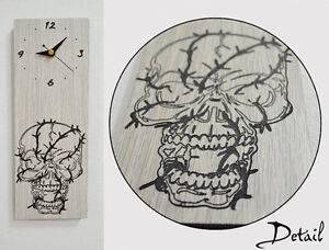 Wired-Skull-Engraved-Wood-Wall-Clock