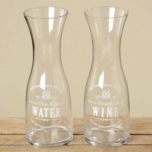 2er SET Karaffe Glas Decanter Marschall Weinkaraffe Wein Wasser H 28 cm 1L klar