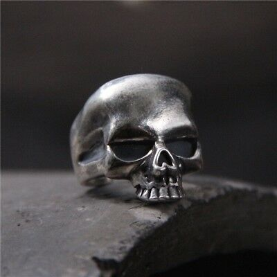 Solid 925 Sterling Silver Mens Heavy Skull Ring Open Adjustable Size Boxed
