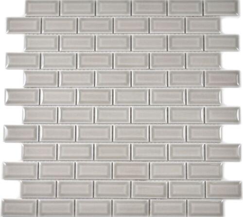 Mini Metro Subway Mosaik Fliese Keramik grau Brick Wand Bad 26-0204_b1Matte