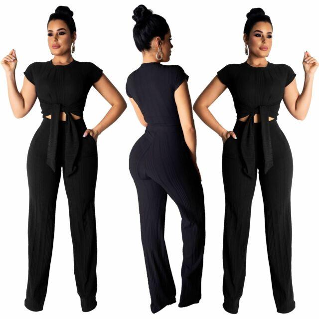 Women sleeveless solid color bodysuit add long pants 2pc club party jumpsuit 2pc