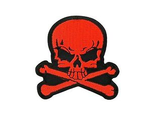 Skull-red-biker-patch-backpack-iron-on-sew-pirate-backpack-motorcycle