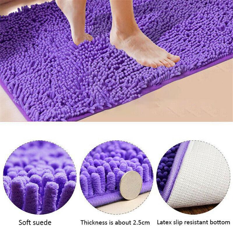 Non-slip Bath Rugs Plain Mat Shaggy Microfiber Floor Toilet Bathroom Door Mats Bath