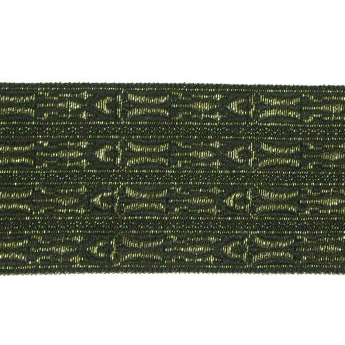 """1.5//8/"""" 42mm Black /& Gold /'Egyptian/' Style Jacquard Ribbon Trim"""