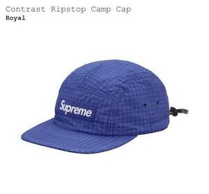 23a158ae45b Image is loading Supreme-SS2018-Contrast-Ripstop-Camp-Cap-Blue-Box-