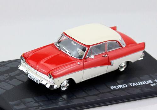 FORD TAUNUS 17m p2 Deluxe COUPE ROSSO-BIANCO 1:43 Ixo//Altaya modello di auto