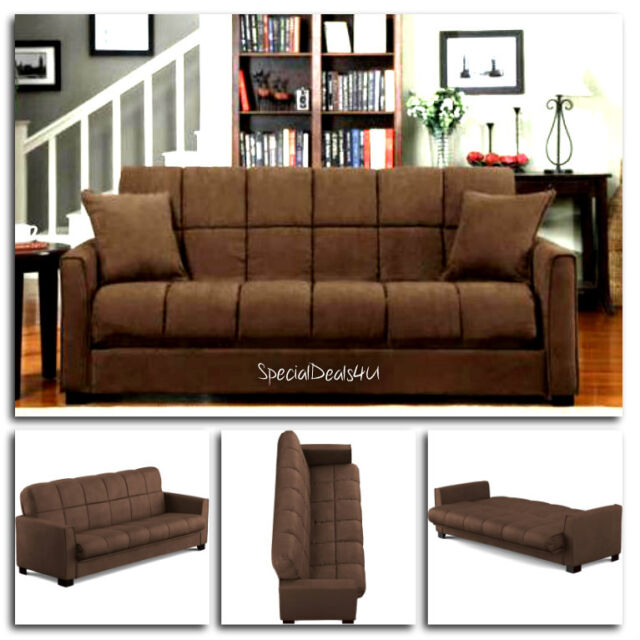 Outstanding Futon Convertible Couch Sofa Bed Microfiber Sleeper Living Room Furniture Brown Machost Co Dining Chair Design Ideas Machostcouk