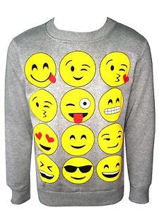 Kids Emoji Emoticons Smile Faces Long Sleeve Hoodies Tops Girls Age New 5-13 Years