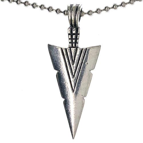 Tribal Arrow Spear Head Amulette Argent Étain Collier Pendentif Argent Balle Chaîne