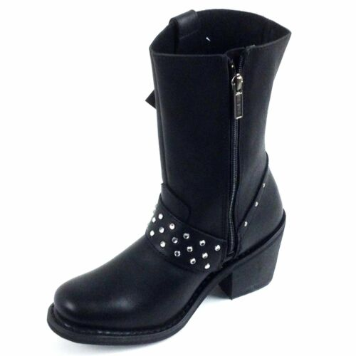 "Harley-Davidson Women Blk Noir Macle 8/"" Strap Boot Style # D84359 Sizes 6,6,510"