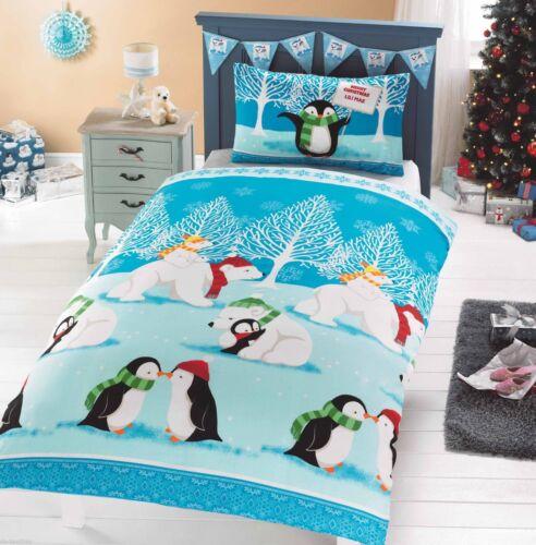 Kids Christmas Bedding Duvet Cover Children/'s Bed Set Festive Xmas Santa