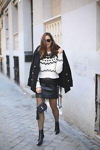 Bnwt Sweater Jaquard Medium Zara Size black Ecru Cropped xfqI0wUz