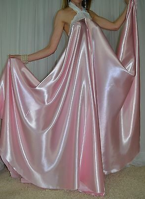 Vtg Satin Nylon Lace Lingerie FULL Sweep Negligee LONG Halter Nightgown L  XL 1X c4db91438