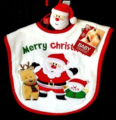 Baby Bib First Christmas Infant Baby /& Santa Claus Wrist Rattle Set