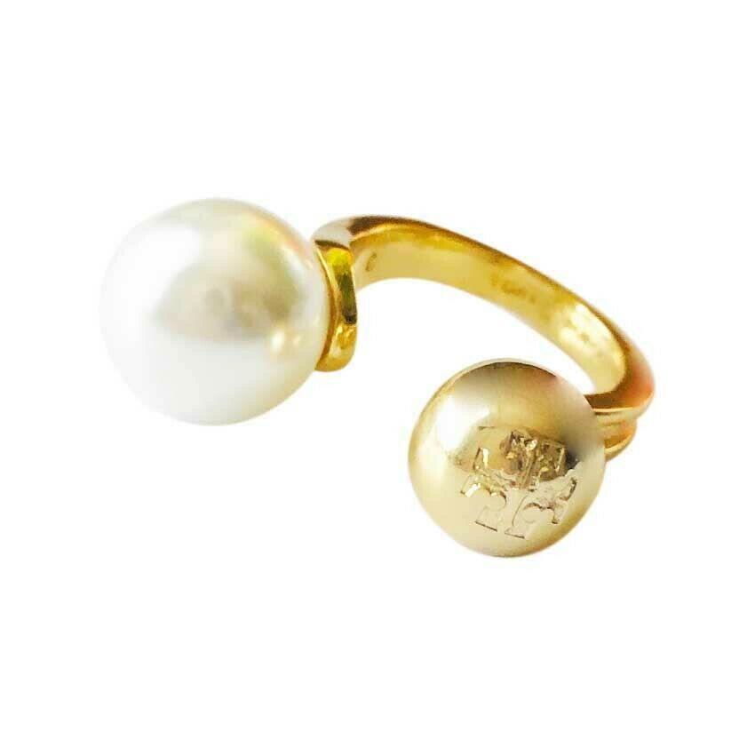 Auth NEW Tory Burch Hammered Metal Logo Bead and Pearl Ring Size 7