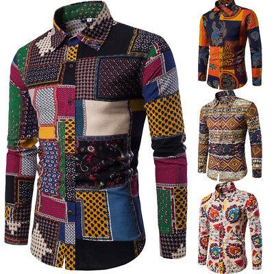 Mens Casual Long Sleeve Shirt Business Slim Fit Shirt Printed Blouse Tops Cool