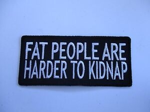Fat-people-are-harder-Patch-Sew-Iron-Rider-biker-Men-039-s-Shed-Motorcycle-vest