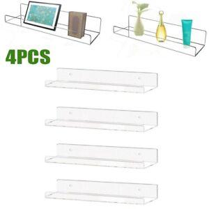 "4pc 15"" Wall Mounted Acrylic Floating Ledge Shelf Storage Rack Display Bookshelf"