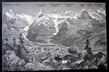 Switzerland~1900's GRINDELWALD~ Swiss Map Postcard