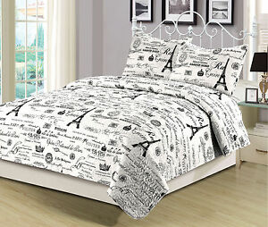 Twin Queen Or King Size Bedding Quilt Set Paris Eiffel Tower