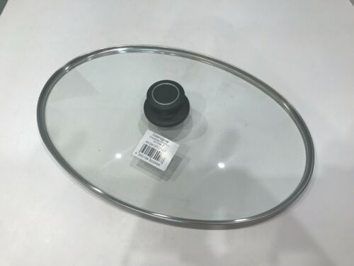 AMT Gastroguss Glasdeckel oval mit Edelstahlrand für Fischpfanne 41 x 27 cm neu