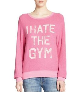 Wildfox Couture Womens I Hate The Gym Pink, Maliblue BBJ Jumper Sweater Top