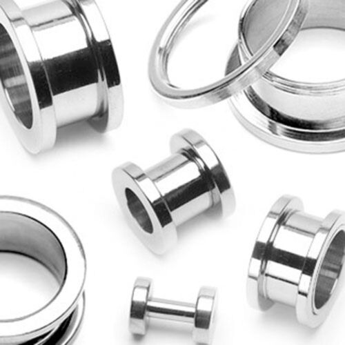 Pair of 316L Stainless Steel Screw Fit Flesh Hollow Tunnels Flares Plugs E171