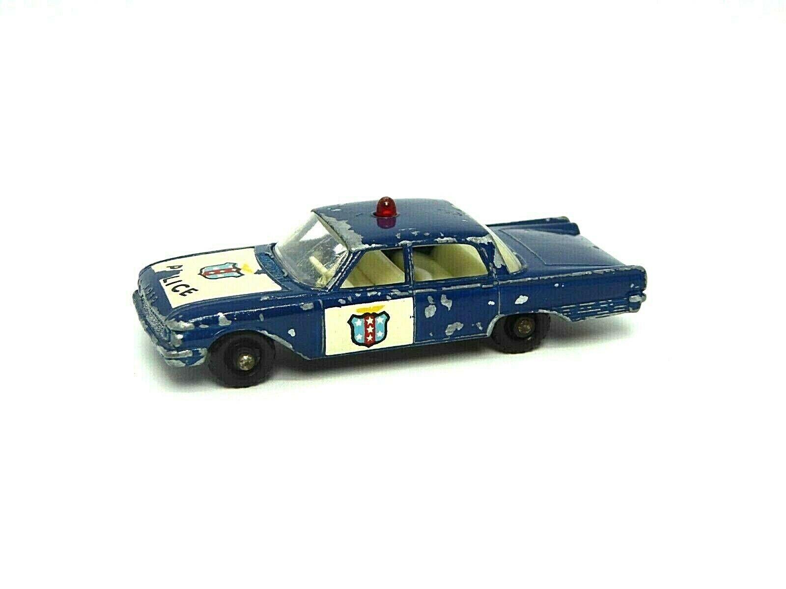 MATCHBOX LESNEY No.55b FORD FAIRLANE POLICE CAR (RARE bleu foncé)