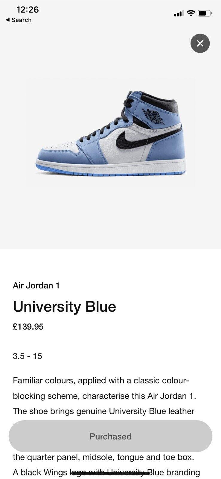 Jordan 1 Retro High White University Blue Black UK 7.5