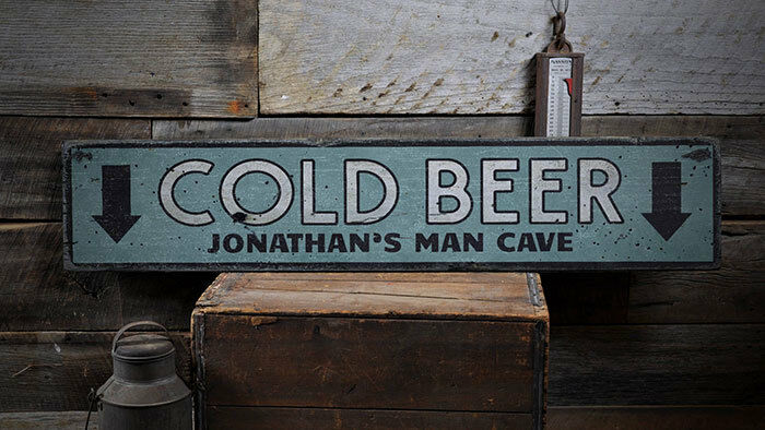 Cold Beer Sign, Rustic Beer Sign -Distressed Wooden Sign ENS1001931
