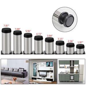 4X-Stainless-Steel-Furniture-Leg-Cabinet-Sofa-Adjustable-Feet-Metal-Round-2-034-Dia