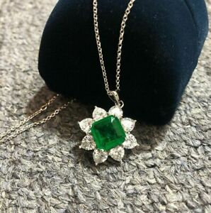 Damen-Halskette-echt-Silber-925-Quadrat-Smaragd-Edelstein-Kette-Silber-Anhaenger