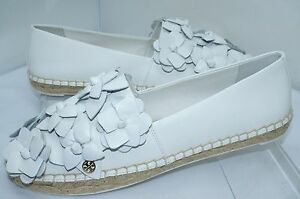 cb34c5236ad2 New Tory Burch Blossom Espadrille White Shoes Size 9.5 Flat Holiday ...