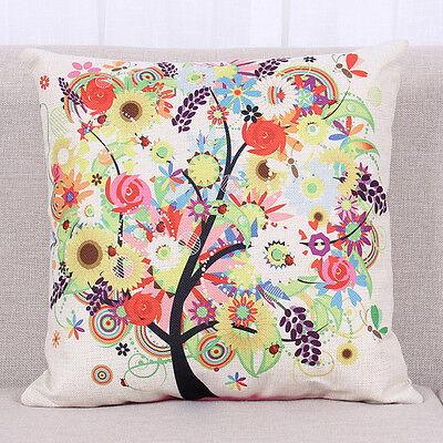 Four Season Life Tree Cotton Linen Cushion Cover Pillow Case Home Decor 45x45cm