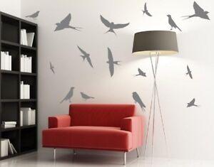 Lot-de-HIRONDELLES-Grand-amovible-autocollant-mural-haute-qualite-oiseaux